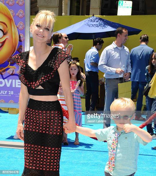 Actress Anna Faris and son Jack Pratt attend the premiere of The Emoji Movie at Regency Village Theatre on July 23 2017 in Westwood California