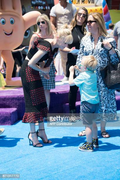 Actress Anna Faris and son Jack Pratt attend the World Premiere of The Emoji Movie at the Regency Village Theater on July 23 in Westwood California /...