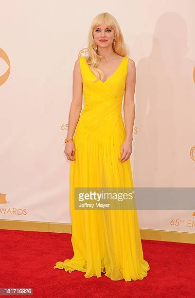 Actress Anna Faris arrives at the 65th Annual Primetime Emmy Awards at Nokia Theatre LA Live on September 22 2013 in Los Angeles California