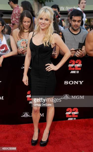 Actress Anna Faris arrives at the Los Angeles premiere of 22 Jump Street at Regency Village Theatre on June 10 2014 in Westwood California