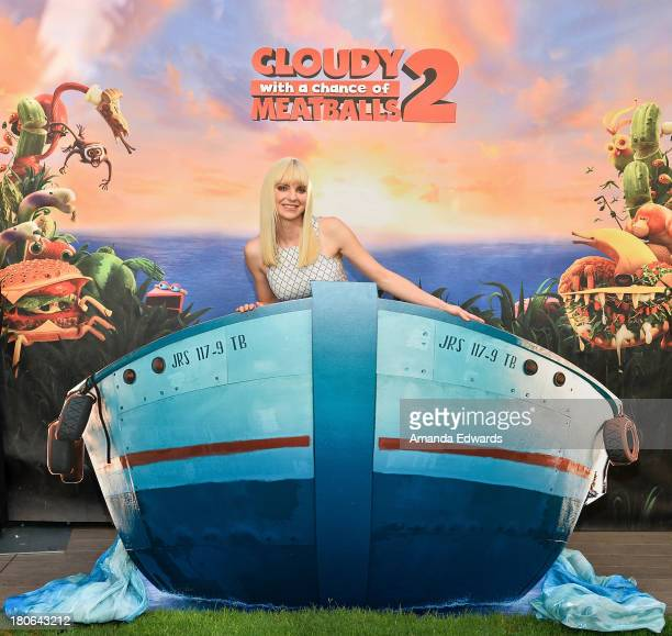 Actress Anna Faris attends the Cloudy With A Chance Of Meatballs 2 Los Angeles Photo Call at Four Seasons Hotel Los Angeles at Beverly Hills on...