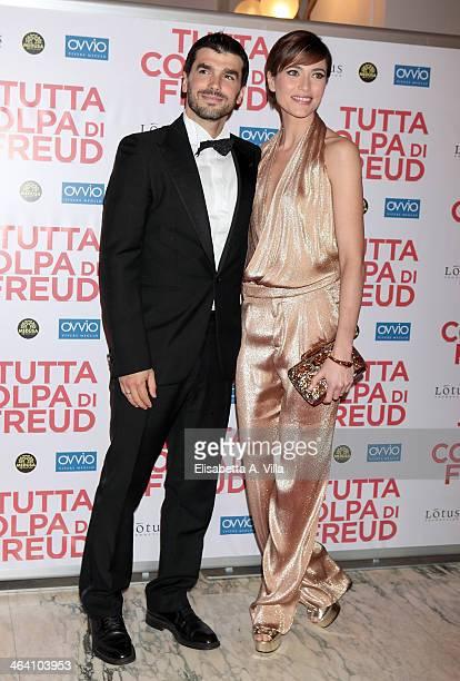 Actress Anna Foglietta and husband Paolo Sopranzetti attend 'Tutta colpa di Freud' premiere at Teatro dell'Opera on January 20, 2014 in Rome, Italy.