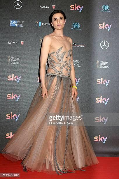 Actress Anna Foglietta arrives at the 60 David di Donatello ceremony on April 18 2016 in Rome Italy