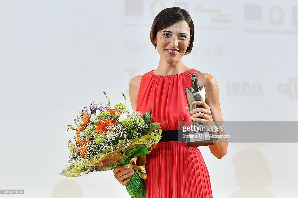 Actress Anna Foglietta poses with the Giffoni Experience Award during Giffoni Film Festival 2015 on July 20, 2015 in Giffoni Valle Piana, Italy.
