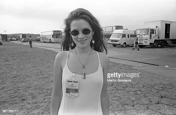 Actress Anna Friel backstage at Phoenix Festival StratfordUponAvon United Kingdom 1994