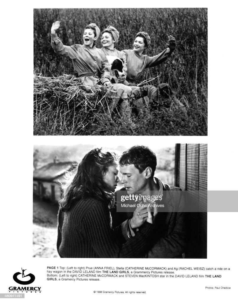 Actress Anna Friel, Catherine McCormack and Rachel Weisz on set (Bottom) actress Catherine McCormack and actor Steven Mackintosh of the movie 'The Land Girls' circa 1998.