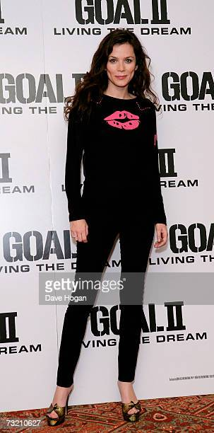 Actress Anna Friel poses at a photocall to promote Goal 2 Living The Dream at the Dorchester hotel on February 5 2007 in London England