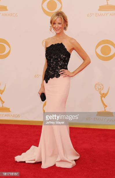 Actress Anna Gunn arrives at the 65th Annual Primetime Emmy Awards at Nokia Theatre LA Live on September 22 2013 in Los Angeles California