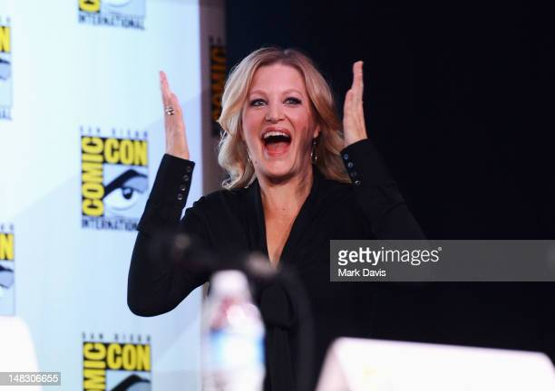 Actress Anna Gunn speaks at AMC's 'Breaking Bad' Panel during ComicCon International 2012 at San Diego Convention Center on July 13 2012 in San Diego...