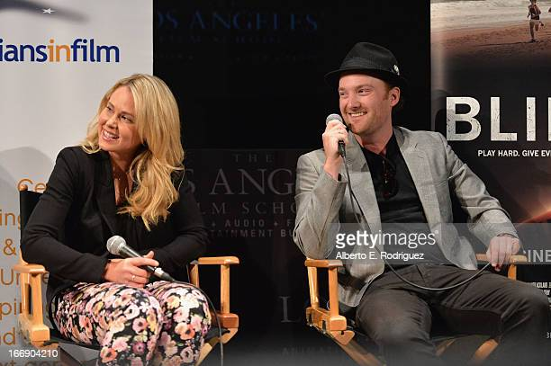 Actress Anna Hutchison and writer/director Richard Gray attend Australians In Film's screening of Revival Film Company's Blinder at Los Angeles Film...