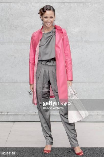 Actress Anna Kanakis attends the Giorgio Armani fashion show during Milan Fashion Week Womenswear Autumn/Winter 2009 on February 27, 2009 in Milan,...