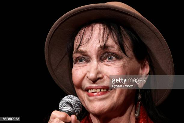 Actress Anna Karina attends 'Bienvenue a Anna Karina' master class during 9th Film Festival Lumiere on October 18 2017 in Lyon France