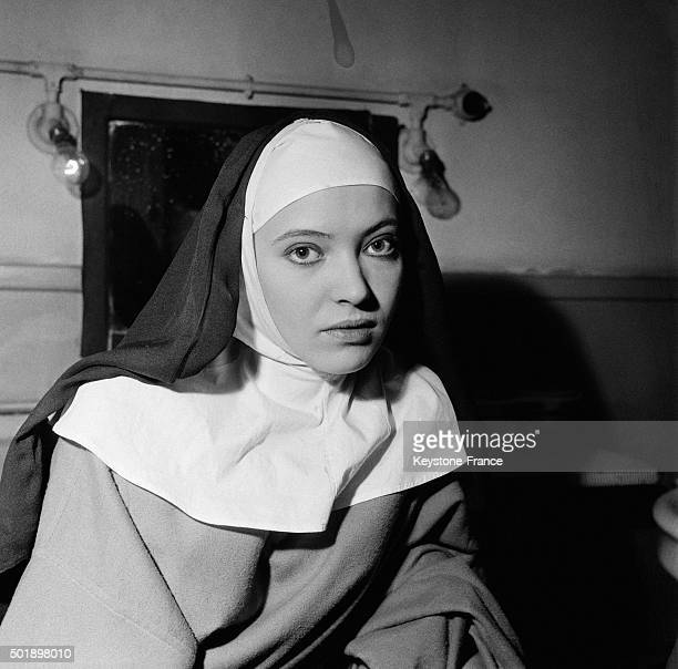 Actress Anna Karina During The Rehearsal Of Diderot's Play 'La Religieuse' Adpated By Jean Gruault And Directed By Jacques Rivette At The Studio Des...