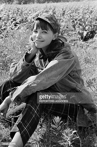 Actress Anna Karina On The Set Of The Movie 'Pierrot Le Fou' Directed By JeanLuc Godard in Hyères France on June 8 1965