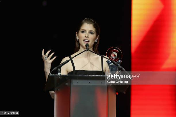 Actress Anna Kendrick accepts the 'Cinema Spotlight Award' during the CinemaCon Big Screen Achievement Awards at The Colosseum at Caesars Palace...