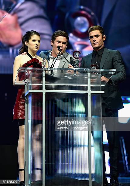 Actress Anna Kendrick actor/comedian Adam DeVine and actor Zac Efron accept the Comedy Stars of the Year Award during the CinemaCon Big Screen...