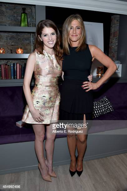 Actress Anna Kendrick and actress/executive producer Jennifer Aniston attend the Cake cocktail reception presented by PANDORA Jewelry at West Bar on...