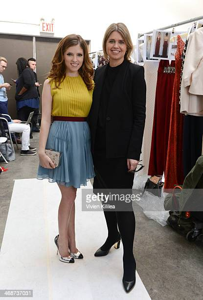 Actress Anna Kendrick and fashion designer Jenny Packham backstage at Jenny Packham MercedesBenz Fashion Week Fall 2014 at Industria Studios on...