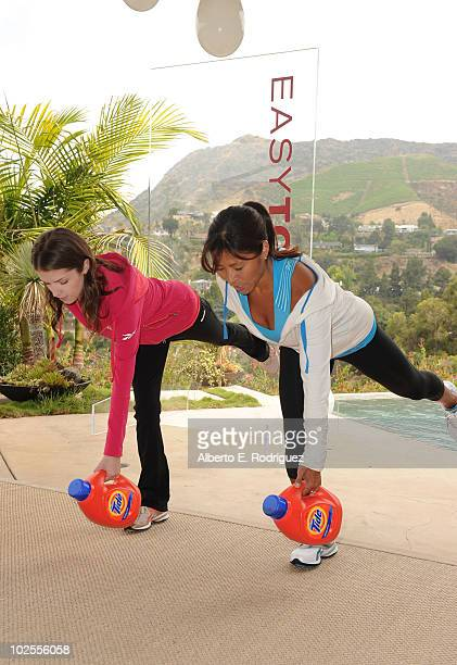 Actress Anna Kendrick and fitness trainer Yumi Lee attend the Reebok Women's Fitness event on June 16 2010 in Los Angeles California