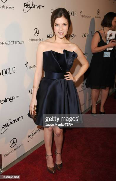 Actress Anna Kendrick arrives at the 2011 Art Of Elysium Heaven Gala held at the California Science Center on January 15 2011 in Los Angeles...