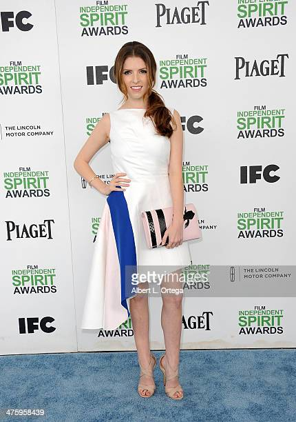 Actress Anna Kendrick arrives for the 2014 Film Independent Spirit Awards held at the beach on March 1 2014 in Santa Monica California
