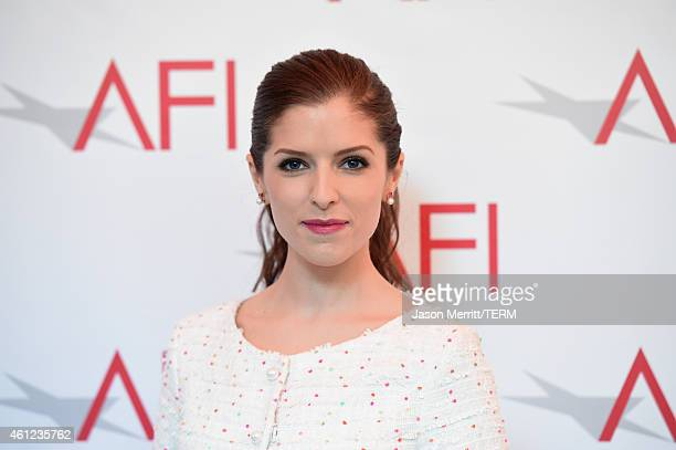 Actress Anna Kendrick attends the 15th Annual AFI Awards at Four Seasons Hotel Los Angeles at Beverly Hills on January 9 2015 in Beverly Hills...