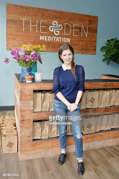 Actress Anna Kendrick attends the DEN Meditation Studio grand opening on January 31 2016 in Los Angeles California