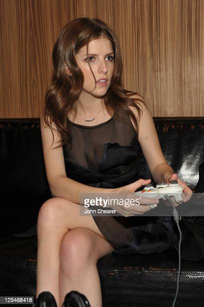 Actress Anna Kendrick attends the Fallout New Vegas launch event featuring Vampire Weekend at Rain Nightclub inside the Palms Casino Resort on...