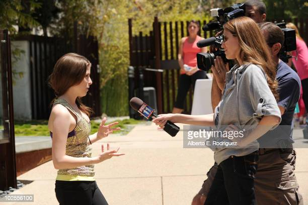 Actress Anna Kendrick is interviewed as she attends the Reebok Women's Fitness event on June 16 2010 in Los Angeles California