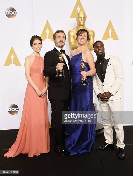 Actress Anna Kendrick, Patrick Osborne, Kristina Reed winners of the Best Animated Short Film Award for 'Feast', and actor Kevin Hart pose in the...
