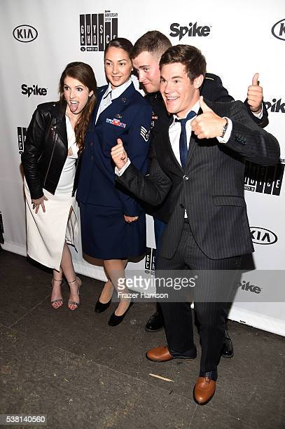 Actress Anna Kendrick service woman Melissa Gonzales service man Rider Wilson and actor Adam DeVine attend Spike TV's 10th Annual Guys Choice Awards...
