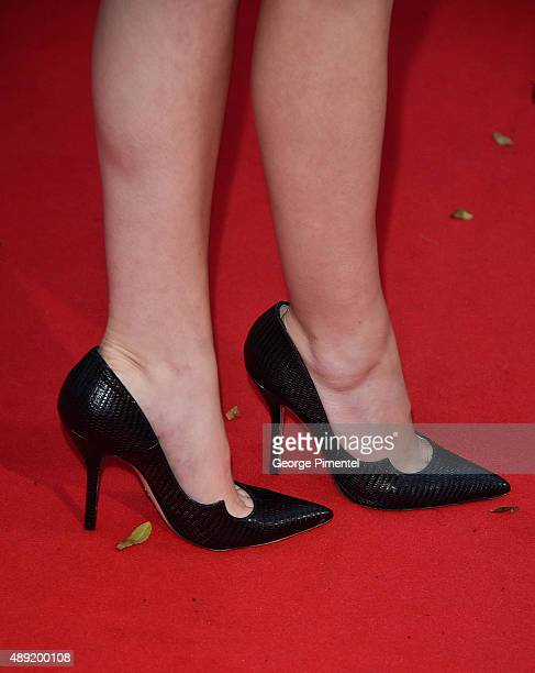 Actress Anna Kendrick shoe detail attends the Mr Right premiere during the Toronto International Film Festival at Roy Thomson Hall on September 19...