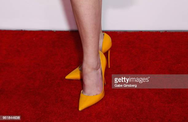 Actress Anna Kendrick shoes detail attends CinemaCon 2018 Lionsgate Invites You to An Exclusive Presentation Highlighting Its 2018 Summer and Beyond...