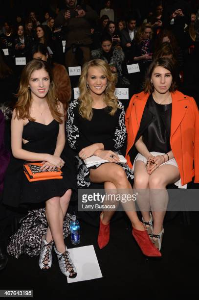 Actress Anna Kendrick singer Carrie Underwood and actress Zosia Mamet attend Rebecca Minkoff fashion show during MercedesBenz Fashion Week Fall 2014...