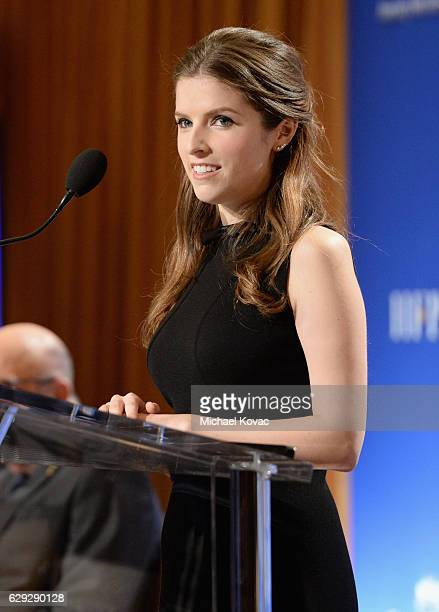 Actress Anna Kendrick speaks onstage during Moet Chandon toast to the 74th Annual Golden Globe Awards nominations on December 12 2016 in Los Angeles...