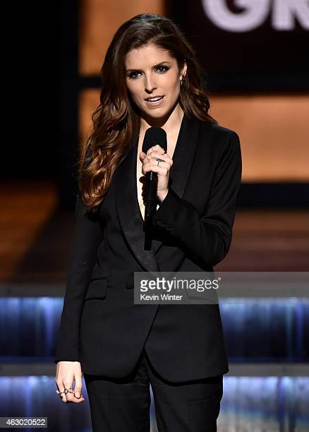 Actress Anna Kendrick speaks onstage during The 57th Annual GRAMMY Awards at the STAPLES Center on February 8 2015 in Los Angeles California