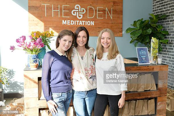 Actress Anna Kendrick Tal Rabinowitz and actress Amanda Seyfried attend the DEN Meditation Studio grand opening on January 31 2016 in Los Angeles...