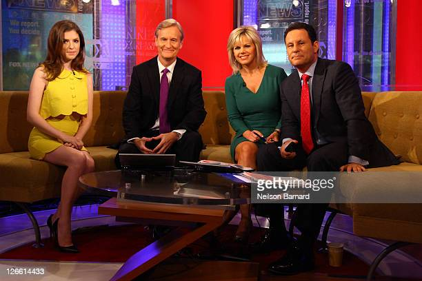 Actress Anna Kendrick talks with hosts Steve Doocy Gretchen Carlson and Brian Kilmeade during a taping of 'FOX Friends' at FOX Studios on September...
