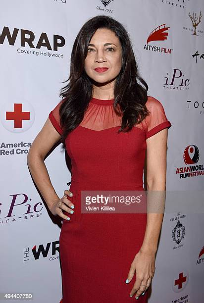 Actress Anna Khaja attends the Asian World Film Festival Opening Night Red Carpet Awards Gala And Film at The Culver Hotel on October 26 2015 in...