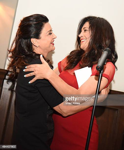Actress Anna Khaja presents actress Shohreh Aghdashloo with the Global Vanguard Award for Cinematic Achievement at the Asian World Film Festival...