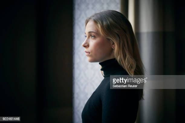 Actress Anna Lena Klenke poses during the 'The Silent Revolution' portrait session at the 68th Berlinale International Film Festival Berlin at Hotel...