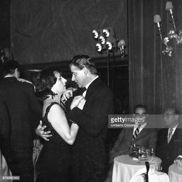 Actress Anna Magnani dancing at the party with Cesare Pavani Rome 1959