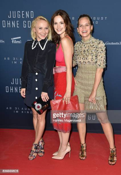Actress Anna Maria Muehe Emilia Schuele and Alicia von Rittberg during the 'Jugend ohne Gott' premiere at Mathaeser Filmpalast on August 21 2017 in...