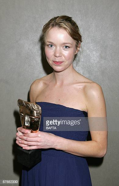 Actress Anna Maxwell Martin leaves the stage having been presented with the award for Best Actress for her role in Bleak House at the Pioneer British...