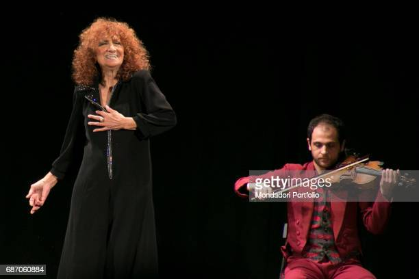 Actress Anna Mazzamauro acting in her monologue Nuda e cruda at the Teatro Delfino Milan Italy 3rd December 2016