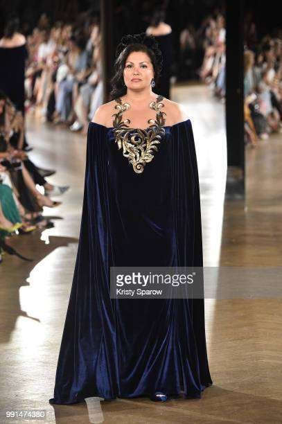 Actress Anna Netrebko opens the Yanina Couture Haute Couture Fall Winter 2018/2019 show as part of Paris Fashion Week on July 3, 2018 in Paris,...
