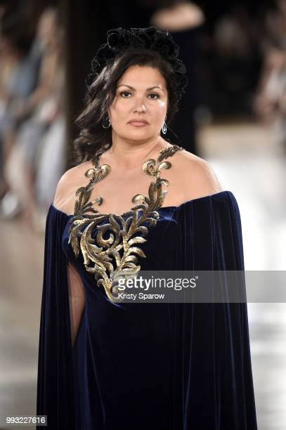 Actress Anna Netrebko opens the Yanina Couture Haute Couture Fall Winter 2018/2019 show as part of Paris Fashion Week on July 3 2018 in Paris France