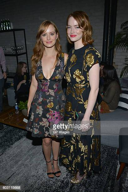 Actress Anna O'Reilly and actress Emma Stone attend the 'Katie Says Goodbye' TIFF Party hosted by CIROC and Grolsch at Storys Building on September...
