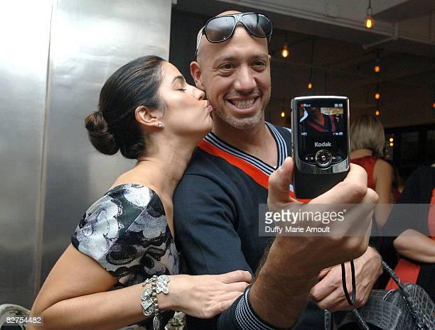Actress Anna Ortiz and Celebrity Stylist Robert Verdi take video with the Kodak Zi6 Camera while attending Microsoft's Great American Style at Robert...