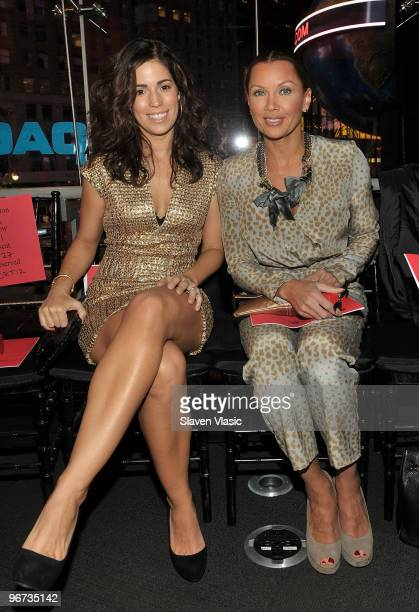Actress Anna Ortiz and Vanessa Williams attend the Carmen Marc Valvo Fall 2010 presentation at the NASDAQ Tower on February 15 2010 in New York City